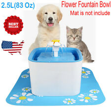 2.5L Square Automatic Cat Dog Water Drinking Flower Fountain Bowl Dish Filter Us