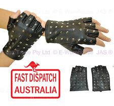 Punk Rock Costume Goth Gothic Fingerless Half Finger Gloves PU Leather Studded