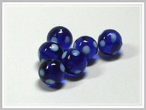 6 Lampwork Perlen rund dunkelblau mit weissen Punkten 12mm Glasperlen Perlen