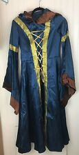 Hooded Cape Medieval Renaissance Dress Costume Cloak Size Small Blue Brown
