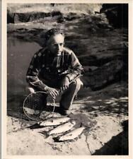 Lake St John Ouananiche Fish Catch ID'd Quebec City Man CANADA Marier 8x10 Photo