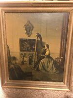 """lady With The Harp"" Lithograph Print By L. Campbell Taylor Vintage Art Work"