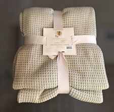 """Chris Madden Waffle Knit Throw Blanket 50"""" X 70"""" ~ Tan Gold Accents Soft New!"""