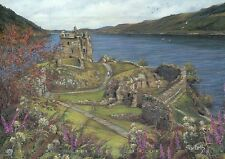 Loch Ness & Urquhart Castle, Scotland, UK --- Modern United Kingdom Art Postcard