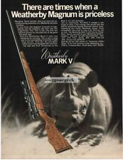 1971 WEATHERBY Mark V Big Game Rifle Rhinoceros Vtg Print Ad
