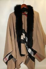 $1,595 Burberry Solid To Check Wool & Fox Fur Cape