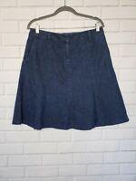 LL BEAN Womens Denim A-Line Skirt 10 Petite Size Blue Pockets
