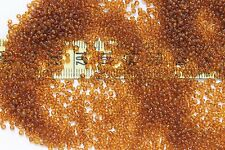 Vintage French 12/0  Glass Seed Beads Trans Med. Dark Topaz Crafts Jewelry /1oz