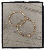 Boucles D'oreilles Créoles 3cm Plaqué Or 18 CARATS 750/1000 Bijoux Femme
