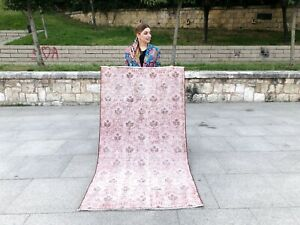 VINTAGE OVERDYED OUSHAK PINK COLOR HANDMADE WOOL ANATOLIAN SMALL AREA RUG