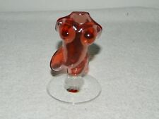 RARE Cranberry Glass Nude Torso BUST Statue Artist Signed
