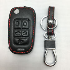 For Buick 5 Button Remote Fob Bag Holder PU Leather Car Key Cover Case Black