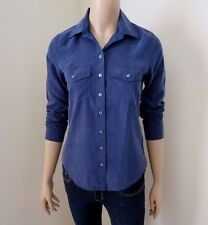 NWT Abercrombie Womens Button Down Top Size XS Shirt Blouse Navy Blue Silky Soft