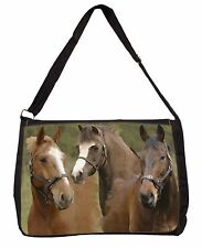Horse Montage Large Black Laptop Shoulder Bag School/College, AH-9SB