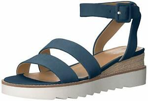 Franco Sarto Womens Connolly Leather Open Toe SlingBack, Lapis Blue, Size 7.5