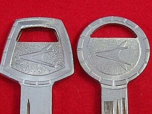 CHRYSLER FORWARD LOOK Logo KEY Blank SET 1959-66 Dodge Plymouth Chrysler OEM NOS