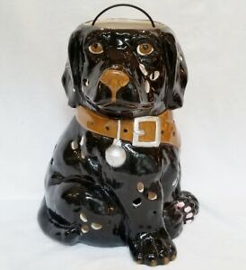 Adorable Large CERAMIC Black LABRADOR Candle LANTERN New CANDLE Included