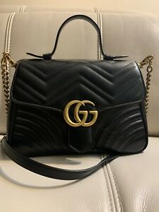 Gucci Black GG Marmont Small Top Handle 100%AuthenticBag Pre-owned