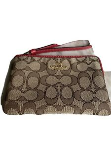 Coach Red Logo Wristlet Wallet