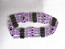 LILAC PURPLE EVIL EYE & MAGNETIC HEMATITE BEAD STRAND WRAP BRACELET / NECKLACE
