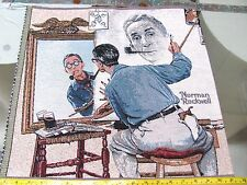 """NORMAN ROCKWELL SELF PORTRAIT 18"""" TAPESTRY WOVEN IN PILLOW TOP PANEL UNFINISHED"""