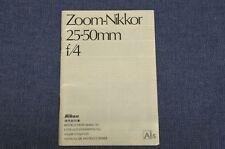 c1982 Vintage, MINT & RARE INSTRUCTION MANUAL f/ Nikon 25-50mm f4 AI-S / AIS