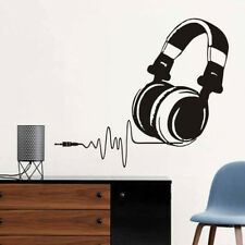 Listen To Music Headphones Wall Sticker Vinyl Art Earphone Song Decal Decor