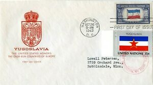 FIRST DAY COVER 1943 OVERRUN NATIONS FLAGS YUGOSLAVIA THE WORLD WAR II VALUE $43
