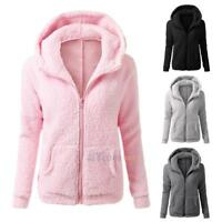 Womens Winter Warm Hooded Fleece Parka Jacket Coat Ladies Tops Overcoat Outwear#