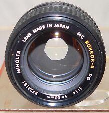 Minolta MC Rokkor-X PG 50 MM F 1.4 Lens