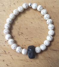 Lava Stone Bracelet Men's Cream Howlite