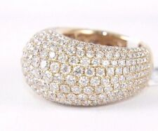 Fine Wide Cluster Diamond Pave Dome Cigar Ring Band 18k Rose Gold 6.48Ct