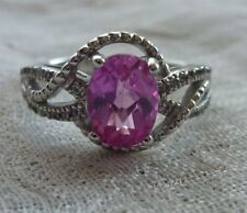 Sterling 925 Synthetic Pink and White Oval Sapphire Ring Size 7