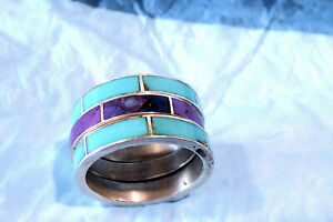 SIGNED DTR JAY KING 2 PIECE .925 RING GUARD/ BAND TURQUOISE CHAROITE RING SZ 9.5
