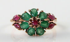 9K 9CT ROSE GOLD INDIAN RUBY & COLOMBIAN EMERALD ART DECO INS CLUSTER RING