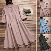 ZANZEA Femme Belle Col rond Manches longues Short Dress Robe Chemise Plus Size