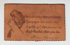 "[59455] 1906 LEATHER POSTCARD EDWARDIAN BEAUTY ""HERE'S to TURKEY.............."""