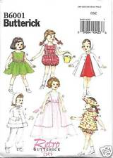 B6001 18 INCH DOLL CLOTHES SEWING  PATTERN BUTTERICK 6001