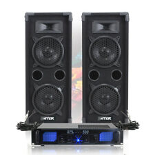 "2x MAX 2 x 6"" Speakers EQ Power Amplifier Cables Bedroom DJ Disco Party 1200W"