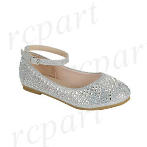 New girl's kids buckle closure flower girl dress shoes jewel ankle strap silver