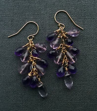 14K GF AMETHYST CLUSTER EARRINGS AAA CLASS