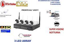 KIT VIDEOSORVEGLIANZA WIFI WIRELESS IP FULL HD 4 TELECAMERE 3 LED ARRAY