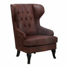 Premier Housewares 73x83x112cm Kingston Wing Chair Wood Frame Brown Lth/efft