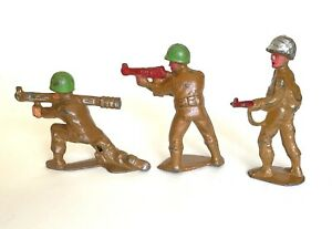 MANOIL Toy Soldier LOT of 3 Bazooka Tommy Gun Patrol Grey Iron Barclay