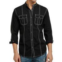 INC Mens Shirt Black Size 2XL Banded Collar Stitching Roll Tab Sleeve $65 #087