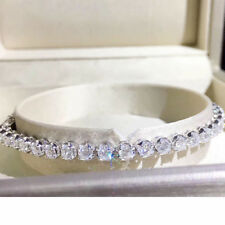 3.68ctw Melee DEF Color Round Excellent Cut Moissanite Bracelet 14k White Gold