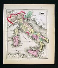 1857 Morse Map - Italy - Rome Florence Venice Naples Sicily Milan Vatican State