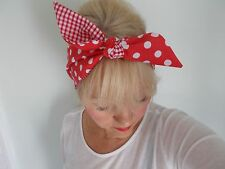 HEAD SCARF HAIR BAND  RED SPOTTED POLKA DOT GINGHAM SELF TIE BOW SPOT