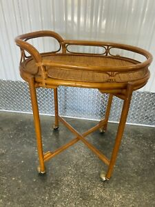 VTG BAMBOO BUTLERS CHINOISERIE STYLE HORS D'OEUVRES SERVING TIKI BAR CART TABLE