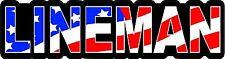 3 - Lineman US Flag Lunch Box Hard Hat Tool Box Helmet Sticker H150